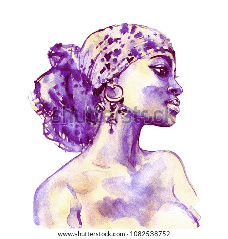Stock Photo Watercolor beauty african woman. Painting fashion illustration. Hand drawn portrait of pretty girl on white background