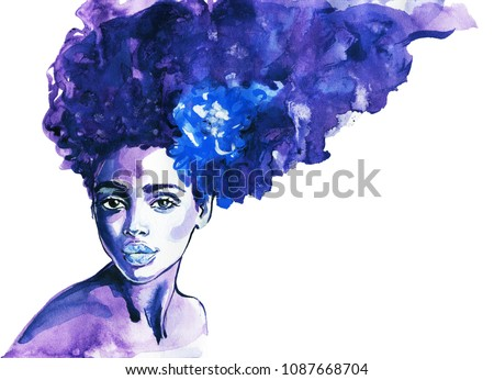 watercolor beauty african woman....