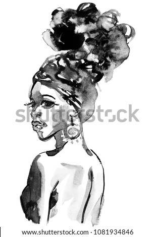 Watercolor beauty african woman. Painting monochrome fashion illustration. Hand drawn portrait of pretty girl on white background