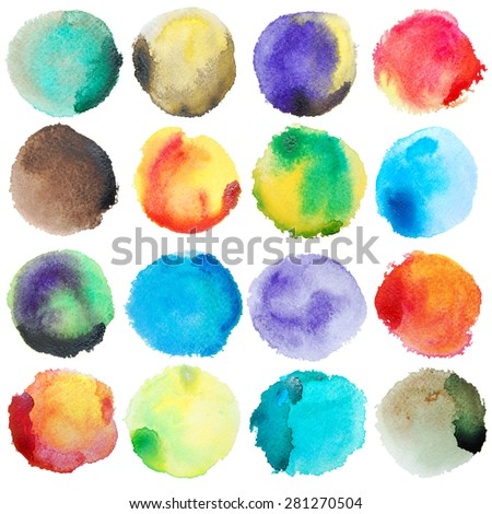 Watercolor Big Set. Art photoshop compilation significant grain and abstract colorful bit mapped graphics. Graphic arts are a raster. Grunge shape for Business background presentation and advertising. stock photo