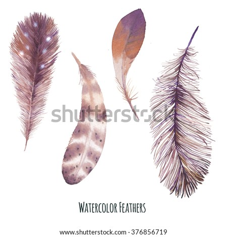 Watercolor bird feathers set. Hand painted boho chic style collection of brown feathers isolated on white background. Artistic design clip art