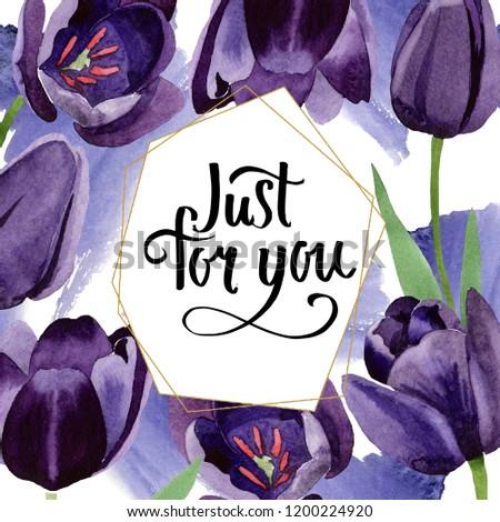 Watercolor black tulips flower. Floral botanical flower. Frame border ornament square. Aquarelle wildflower for background, texture, wrapper pattern, frame or border. #1200224920