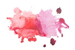 Watercolor blot with splashes and drops isolated on white background.