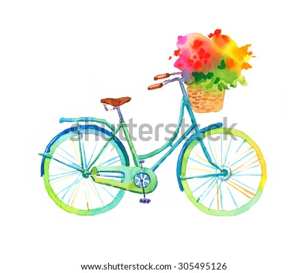 Royalty free hand drawn watercolor isolated bike for Bicycle painting near me