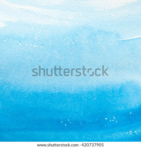 Watercolor blue brush strokes background design isolated