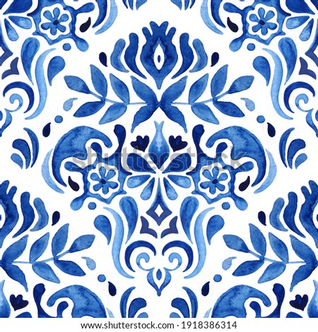 Watercolor blue damask hand drawn floral design. Seamless pattern, tiling ornament. Persian abstract filigree background. Blue and white azulejo decorative element. Сток-фото ©