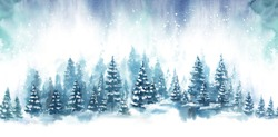 Watercolor Blue landscape of foggy forest hill. Evergreen coniferous trees. Wild nature, frozen, misty, taiga. Horizontal watercolor background.