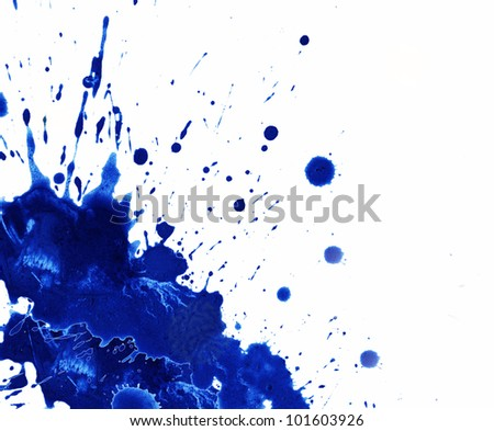 Watercolor blue paint splash, isolated on white background