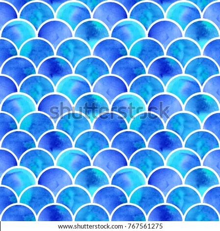 watercolor blue scales of mermaid. seamless pattern