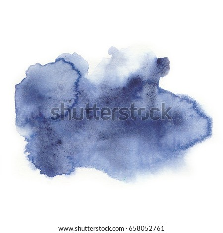 Watercolor blue stain isolated