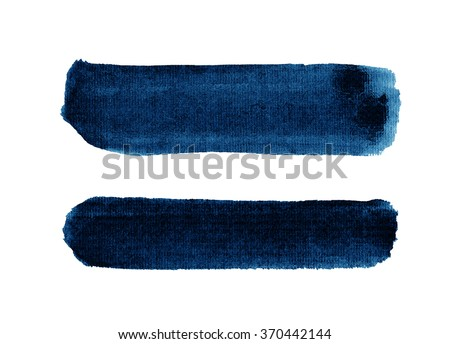 Watercolor blue textured strokes isolated on white