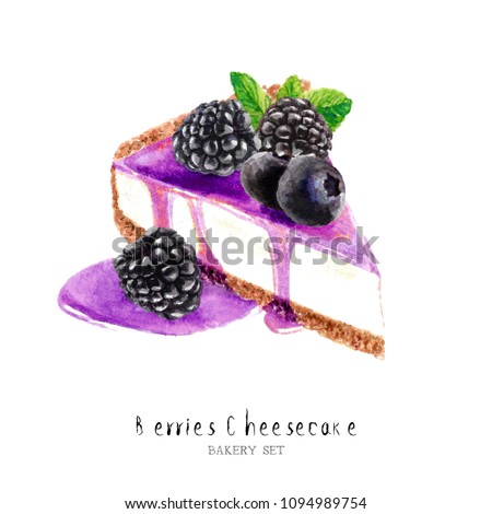 Watercolor blueberry cheesecake dessert. Isolated food illustration cheesecake paint on white background.Watercolor Food Collection hand drawn painting.