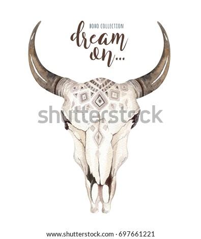 watercolor bohemian cow skull...