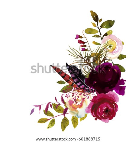 Watercolor Boho Burgundy Magenta  White Floral Corner Bouquet  Flowers and Feathers Isolated.