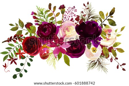 Watercolor Boho Burgundy Red Magenta White Pink  Floral  Bouquet  Flowers and Feathers Isolated.