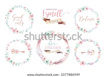 Watercolor boho floral wreath. Bohemian natural frame: leaves, feathers, flowers, Isolated on white background. Decoration illustration. Save the date, weddign design, valentine's day