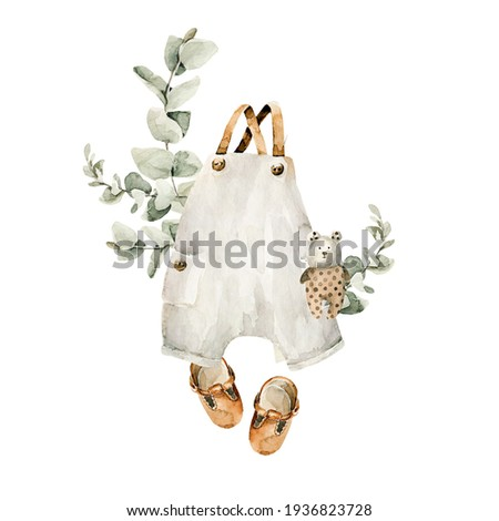 Watercolor boho nursery set. Hand painted cute clothes - baby boy romper, children accessories, eucalyptus leaves isolated on white background. Vintage illustration for design, print, baby shower Foto d'archivio ©