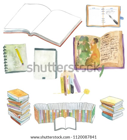 watercolor book and pencil, pen, note, open book, flower, isolated on white background.