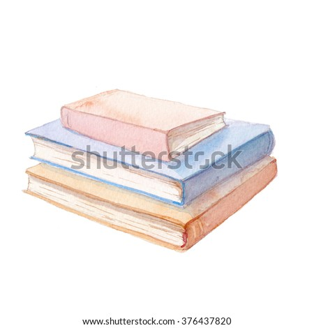 Watercolor books illustration. Hand painted stack of books isolated on white background. Education illustration