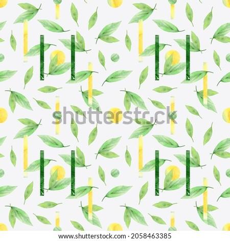 watercolor botanical seamless pattern on light background