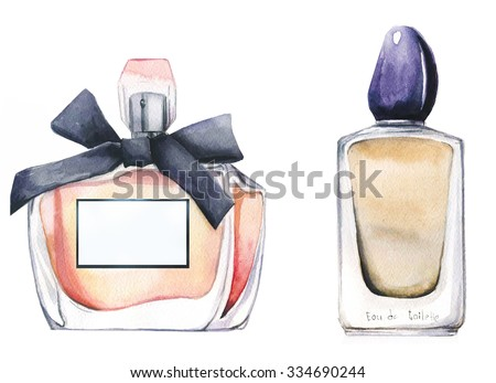 watercolor bottles with perfume