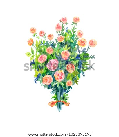 Watercolor bouquet of pink roses. Romantic gift isolated on white.