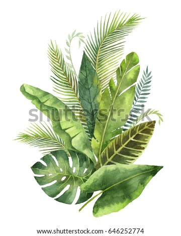 Watercolor bouquet tropical leaves and branches isolated on white background. Illustration for design wedding invitations, greeting cards, postcards.