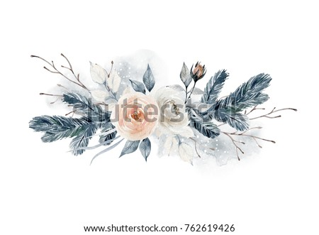 Watercolor bouquet with flowers and fir branches. Winter composition. Element for design #762619426