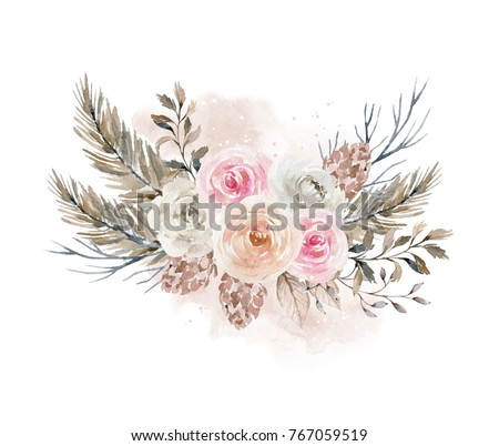 Watercolor bouquet with flowers, pine cones and fir branches. Winter composition. Element for design #767059519