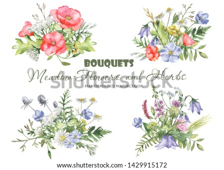 Watercolor bouquets with wildflowers, herbs, plants, meadow flowers. Flower botanical set on a white background. Great for cards, invitations, greeting cards, weddings, quotes, patterns, bouquets, log #1429915172
