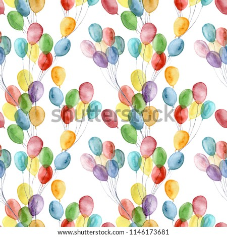 Watercolor bright air ballons seamless pattern. Hand painted illustration with colorful air balloons isolated on white background. For design, print, fabric or background