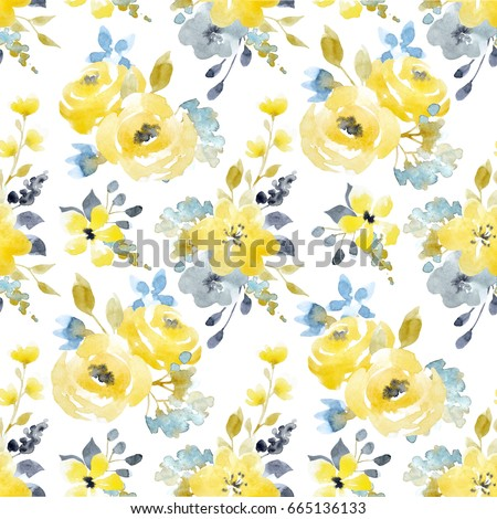 Stock Photo Watercolor bright summer pattern yellow and blue abstract flowers