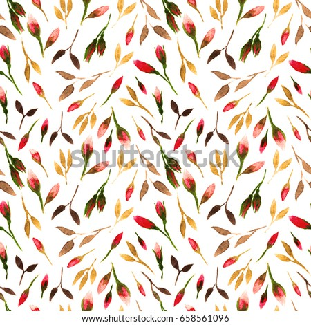 Watercolor bud repeat pattern. Seamless pattern with bud and leaves for your design. Textile print, design for invitation, wedding card or abstract background. repeat pattern with bud in vintage style