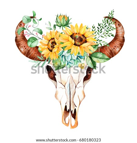 Watercolor bull skull head with sunflowers,leaves,branches,fern leaves,succulent plant. Watercolor boho illustration.Perfect for wedding,invitation,template card,wallpapers,patterns and boho style