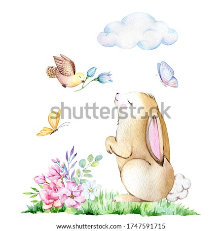 Watercolor bunny greeting card, Spring illustration
