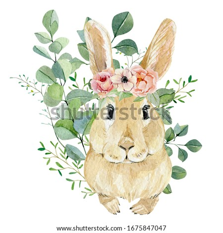 Watercolor bunny in floral bouquet for kids. Hand drawn childish clipart animal forest, silver dollars, green plants and flowers. Watercolor painting funny bunny. Baby cute animal rabbit.
