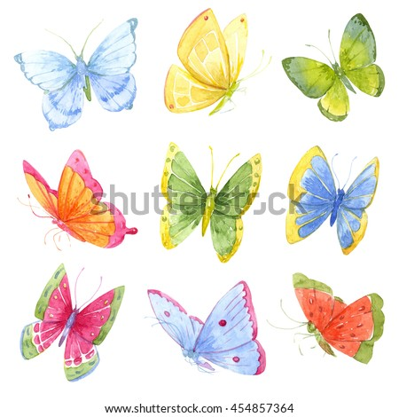 watercolor butterfly, a bright set of bright butterflies, children print