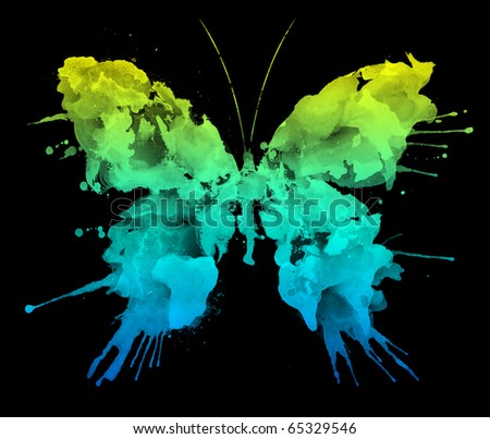 Watercolor Butterfly Isolated on Black Background