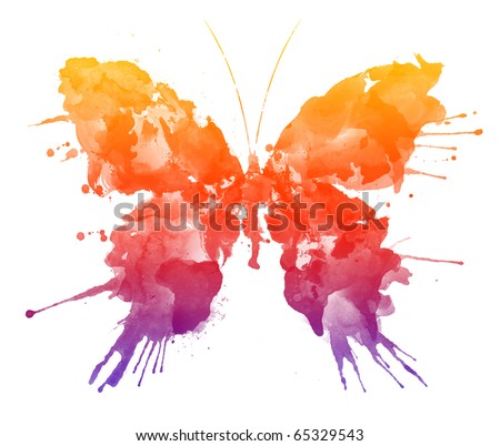 Watercolor Butterfly Isolated on White Background
