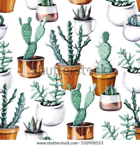watercolor cactus in pot...