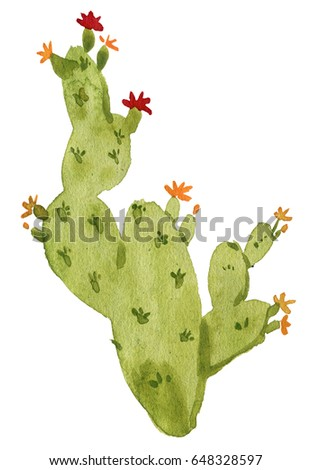 Watercolor Cactus. Original watercolor. Illustration for greeting cards, invitations, and other printing projects. Watercolor cactus with flowers.