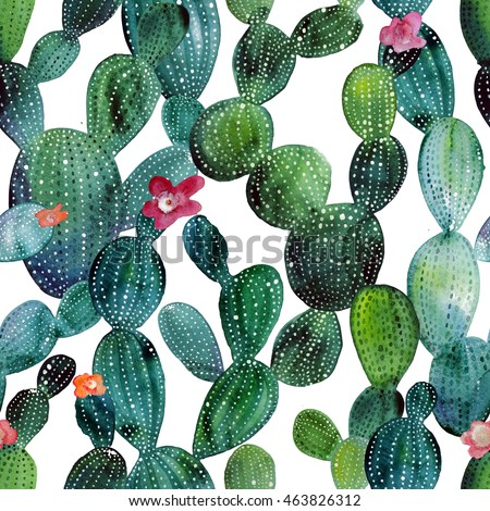 watercolor cactus tropical...