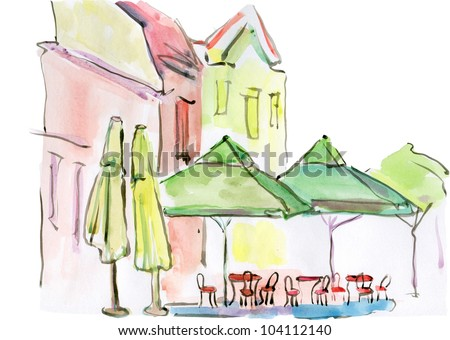 watercolor cafe in the street