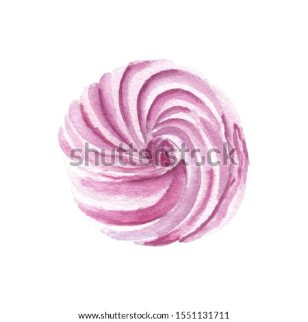 Watercolor candy clip art Great for cook book illustration, scrapbooking, menu, Valentines day greeting card. Pink marshmallow
