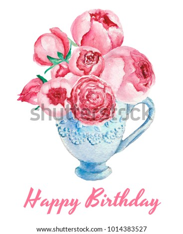 "Watercolor card with blue cup and peonies ""Happy Birthday"""