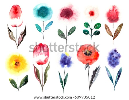 Watercolor cartoon hand drawn sketch abstract flowers set. Painted isolated illustration