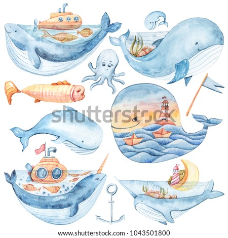 Watercolor cartoon whales, fish, sea gull, boat, waves, houses, lighthouse, star set on white background. Sea illustrations. Can be used for lovely kids print, poster, pattern, stickers