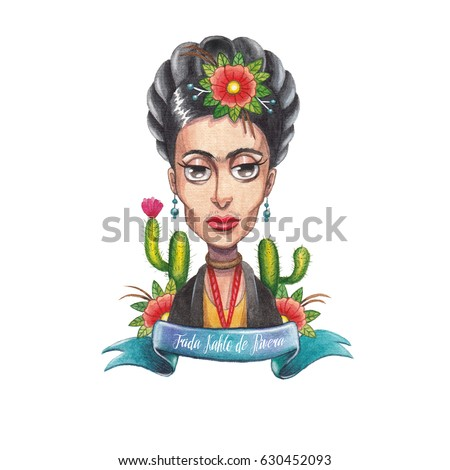 Watercolor character of  artist Frida Kahlo
