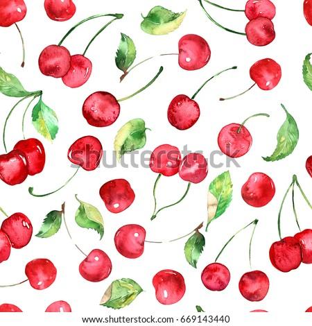 Watercolor Cherries fruit seamless pattern, wallpaper