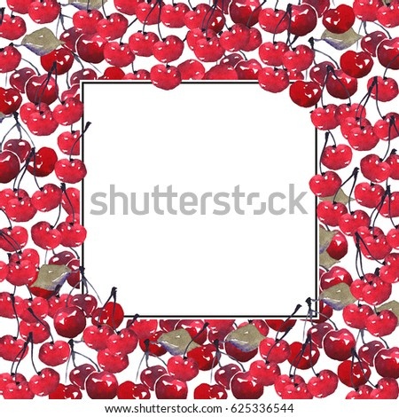 Watercolor cherry on white background with space for text. Postcard design